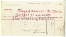 Jonathan P. Kent Company - Lawrence, MA - Vintage Invoice - 1878 Ephemera