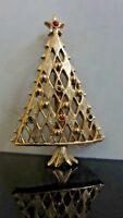 VTG AWESOME CHRISTMAS TREE MULTI COLOR RHINESTONE GOLD PLATED BROOCH