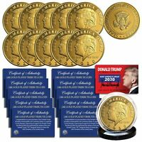 Donald Trump 2020 Keep America Great 24K Gold Clad Medallion Coin (Lot of 10)