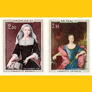 2 TABLEAUX MONACO 1973 - PRINCESSE CHARLOTTE GRIMALDI - N° 946/947 NEUFS **
