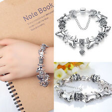 Ladies Silver Animal Bracelet Glass Beads Bracelets Horse Bangle Fashion  NiJB