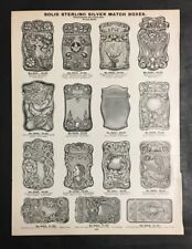 1905 Solid Sterling Silver Decorative Ornate Match Boxes Art Nouveau Design Page