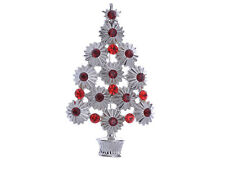 Christmas Tree Holiday Brooch Pin Gifts Trendy Ruby Red Alloy Crystal Rhinestone
