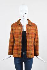 Philosophy di Alberta Ferreti Orange Red Multicolor Wool Tweed Zip Jacket SZ 10