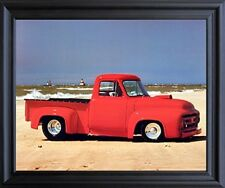Ford F-100 Harley Koopman Vintage Pickup Truck Wall Decor Black Framed Picture