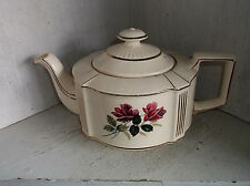 Vintage Sadler England Pink Roses Teapot Gold Lattice