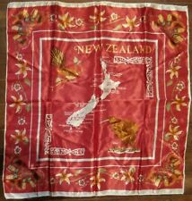 NEW ZEALAND SOUVENIR SCARF - MAP Red - VINTAGE - LOOK!