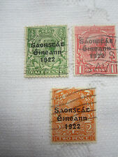 IRELAND 1922-3 USED 3 STAMPS  S G 67/68/70 1/2d/1d/2d HARRISON C V £49. 17/090