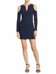 Alice and Olivia Niko Cold-Shoulder Bodycon Size 4 Navy Blue Dress