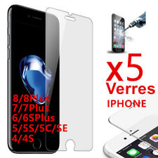 Lot/5 VITRE VERRE Trempé Film écran protection iphone X 8 / 7 / 6/6S/5S/5C/SE/4S