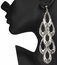 "CLIP ON huge 5""long SILVER BIG BOHO CHANDELIER EARRINGS"
