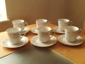 Vintage HP Hebei Porcelain X6 Cups & Saucers Floral Design.