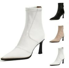 Women Patent Leather Pointy Toe Stretch Kitten Heel Ankle Boots Outdoor Shoes L