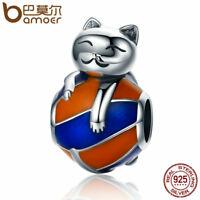 Bamoer authentic Naughty Cat S925 Sterling Silver Charm For Bracelet Jewelry