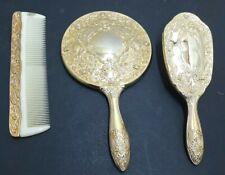 Vanity Set Hair Brush Comb Hand Mirror Vintage 3 Piece Set Antique Victorian Sty
