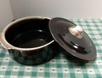 Brown Drip 2 Handle Round Casserole Bean Pot with Lid No Maker Serving Dish Vtg
