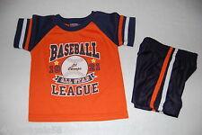 Toddler Boys Shorts Set Orange Navy Blue Athletic Baseball Lil Champs 3-6 Mo