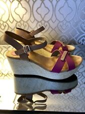 Clarks, Leather, Platform Sandals In Fuschia/Nude, With A Raffia Heel, Size 7/41