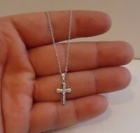 CROSS NECKLACE PENDANT W/ .45 CT  LAB DIAMONDS / 925 STERLING SILVER /18''