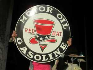 """Porcelain Red Hat Gasoline Enamel Sign Size 30"""" Inch Round"""