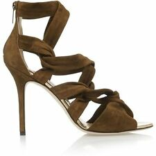 $1,095 Jimmy Choo KAMI Suede Sandal  Strappy Heel Shoes Olive Green Army 39.5 -9