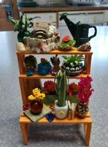 1/24 Scale Miniature Dollhouse Shelf w/Plants