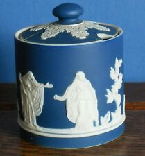 An Antique  Adams blue Jasperware Condiment pot [imperfect]