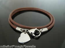 "3mm Brown Leather Double Wrap 7.5""(15"") Bracelet ~ Stainless Steel Heart Charm"