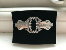 ART DECO STYLE BROOCH UNMARKED SILVER SET WITH TINY STONES SOLID SAFETY C CLASP