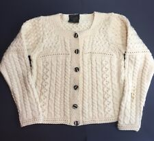 Carraig Donn Merino Pure Wool Ivory Cable Cardigan Sweater Ireland Small (B100)
