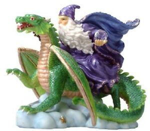 NEW IN BOX ALABASTRITE MERLIN WIZARD RIDING DRAGON STATUE COLLECTIBLE #7