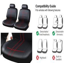 1 Pair Classic PU Leather Car Front Seat Cover Cushion Protector Black+Red Pad