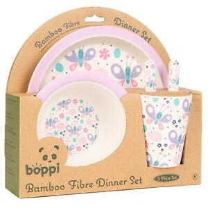 boppi Bamboo Kids Childrens Baby Dinner Set Plate Cup Bowl Cutlery BUTTERFLIES