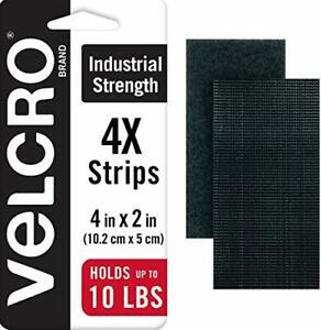 "4 SETS VELCRO Brand Industrial Strength Tape 4"" x 2"" Strips Heavy Duty Black New"
