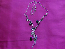 Necklace, Pendant, Silver Tone Fine Link Chain, Black & Silver Beads, UK Seller