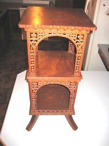 Fancy Scroll Frett Work Antique Victorian 1/4 Saw Oak Three Tiered table Stand