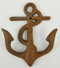 """Vintage Cast Iron Anchor Wall Hook Nautical 5-1/4"""" Tall"""