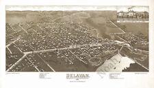 Delavan WI panorama c1884 map 24x14