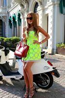 Karen Millen Lime Neon Floral Mesh Contrast Lace Embroidered Skater Dress 10 12