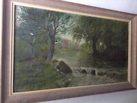 Tableau ancien Barbizon Paysage à la Rivière Huile Signé à Restaurer c1902