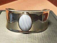 Vintage Sterling Silver Blue Agate Cabochon Gemstone Bracelet Mexico
