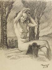 """"""" Au Bord du Lac""""d´apres G.Palmie Akt Nakte """"Kohle. sign./dat. M.Hunsinger 1947"""