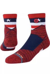 Stance Performance Feel 360 Sport American Quarter Socks - Blue White Red L 9-13