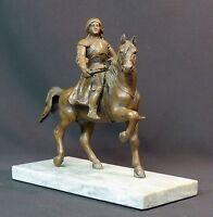19ème rare statuette sculpture régule Jeanne d'Arc à cheval en armes 2.6kg24cm