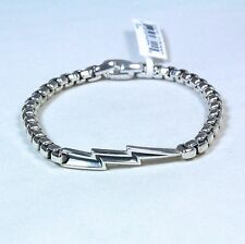 "David Yurman Men's Bolt Box Chain Bracelet Sterling Silver 8"" $450 NWT"