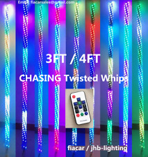 JHB Pair 3FT/4FT 300leds CHASING TWISTED 360°view ATV LED Whips Lights (Remote)