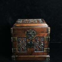 "10"" Chinese old antique huanghuali wood hand carved Fu word mark Jewelry box"