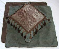New 2Ea Croscill Brown Galleria Euro Shams 26X26 & 1Ea 18X18 Fashion Pillow