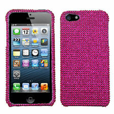 For Apple iPhone 5 5S SE Crystal Diamond BLING Hard Case Phone Cover Hot Pink