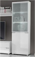 Aspire High Gloss White Tall Display Cabinet Unit Lounge Furniture P9RXAS10